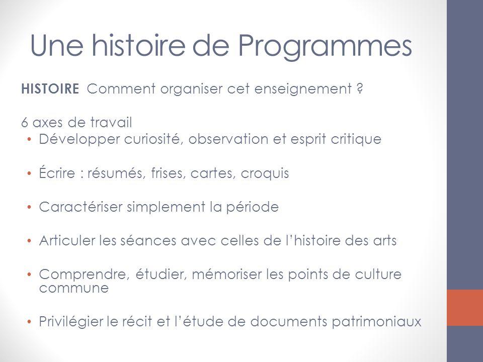 Une histoire de Programmes HISTOIRE Comment organiser cet enseignement ? 6 axes de travail Développer curiosité, observation et esprit critique Écrire