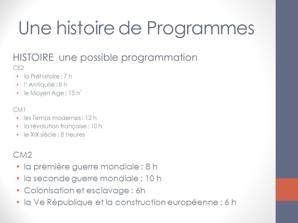 Une histoire de Programmes HISTOIRE une possible programmation CE2 la Préhistoire : 7 h l Antiquité : 8 h le Moyen Age : 15 h` CM1 les Temps modernes
