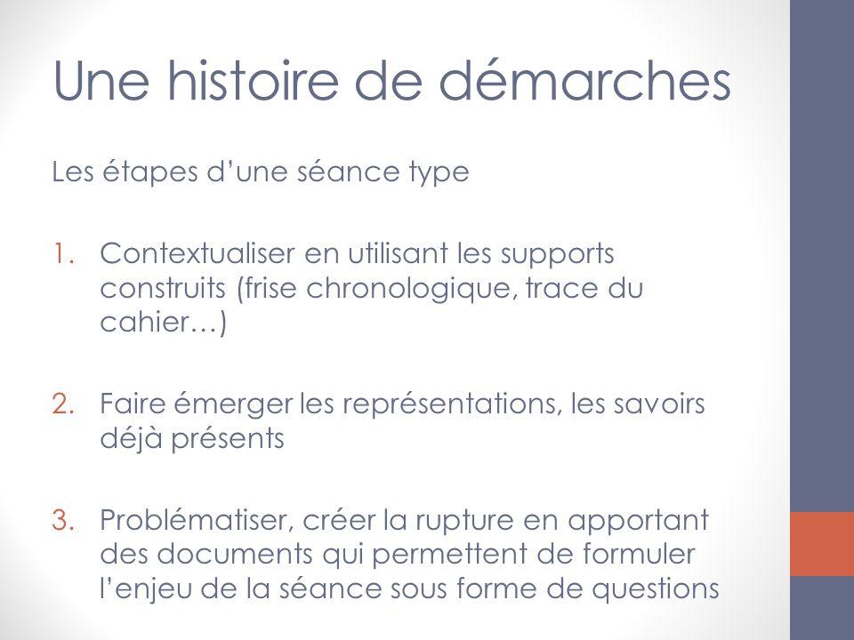 Une histoire de démarches Les étapes dune séance type 1.Contextualiser en utilisant les supports construits (frise chronologique, trace du cahier…) 2.