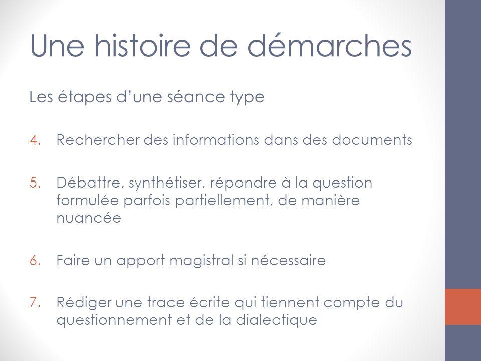 Une histoire de démarches Les étapes dune séance type 4.Rechercher des informations dans des documents 5.Débattre, synthétiser, répondre à la question