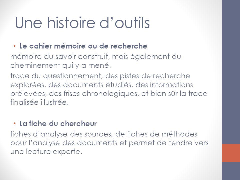 Une histoire doutils Le cahier mémoire ou de recherche mémoire du savoir construit, mais également du cheminement qui y a mené. trace du questionnemen
