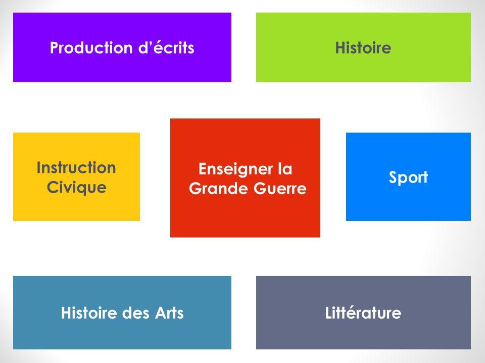Enseigner la Grande Guerre Production décritsHistoire LittératureHistoire des Arts Sport Instruction Civique