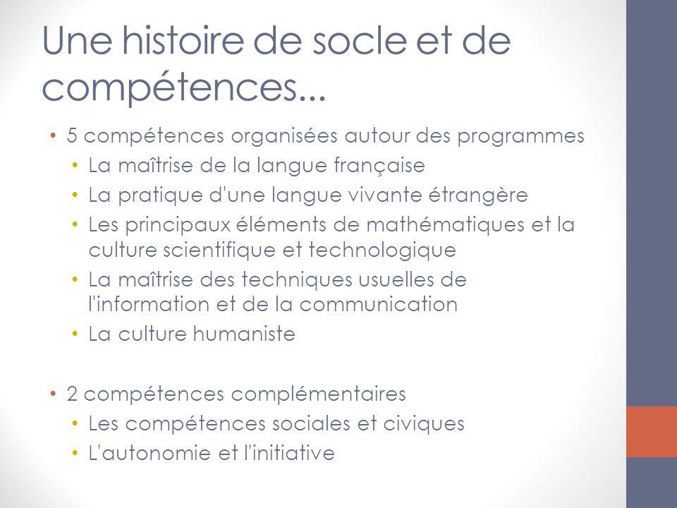 Une histoire de socle et de compétences... 5 compétences organisées autour des programmes La maîtrise de la langue française La pratique d'une langue