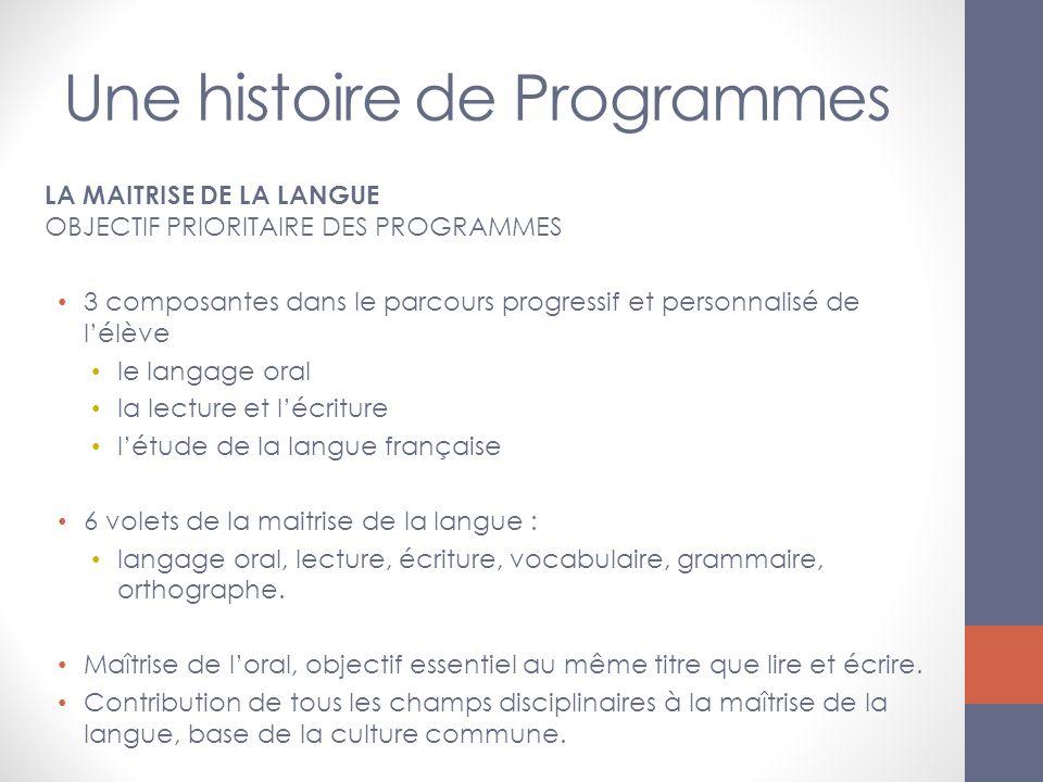 Une histoire de Programmes LA MAITRISE DE LA LANGUE OBJECTIF PRIORITAIRE DES PROGRAMMES 3 composantes dans le parcours progressif et personnalisé de l