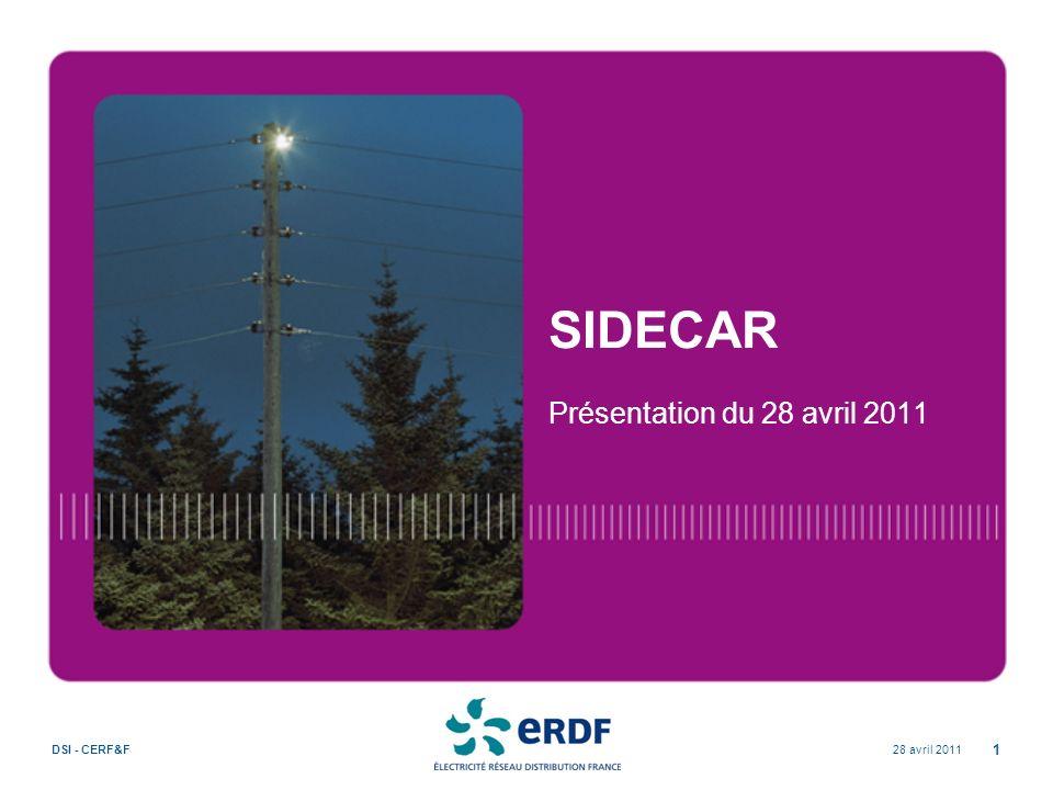 28 avril 2011DSI - CERF&F 1 SIDECAR Présentation du 28 avril 2011