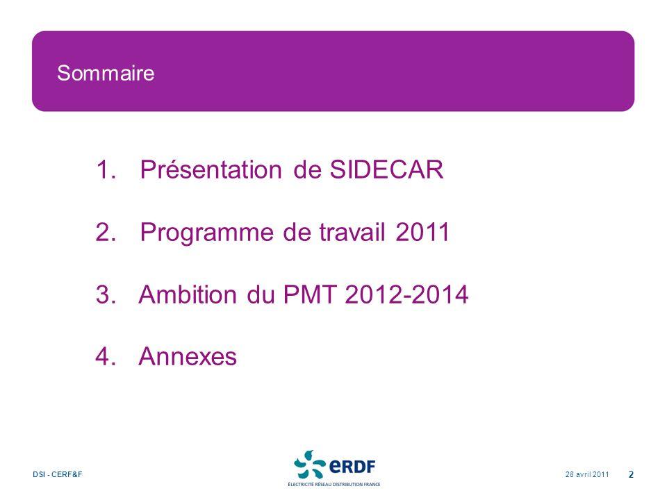 Sommaire 28 avril 2011DSI - CERF&F 2 1. Présentation de SIDECAR 2. Programme de travail 2011 3. Ambition du PMT 2012-2014 4. Annexes