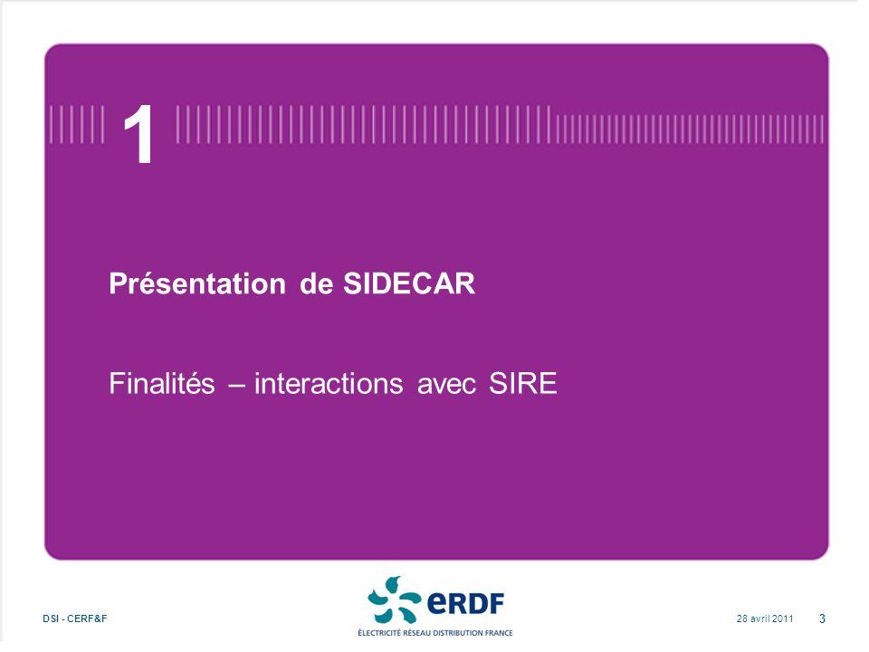 Présentation de SIDECAR Finalités – interactions avec SIRE 28 avril 2011DSI - CERF&F 3 1