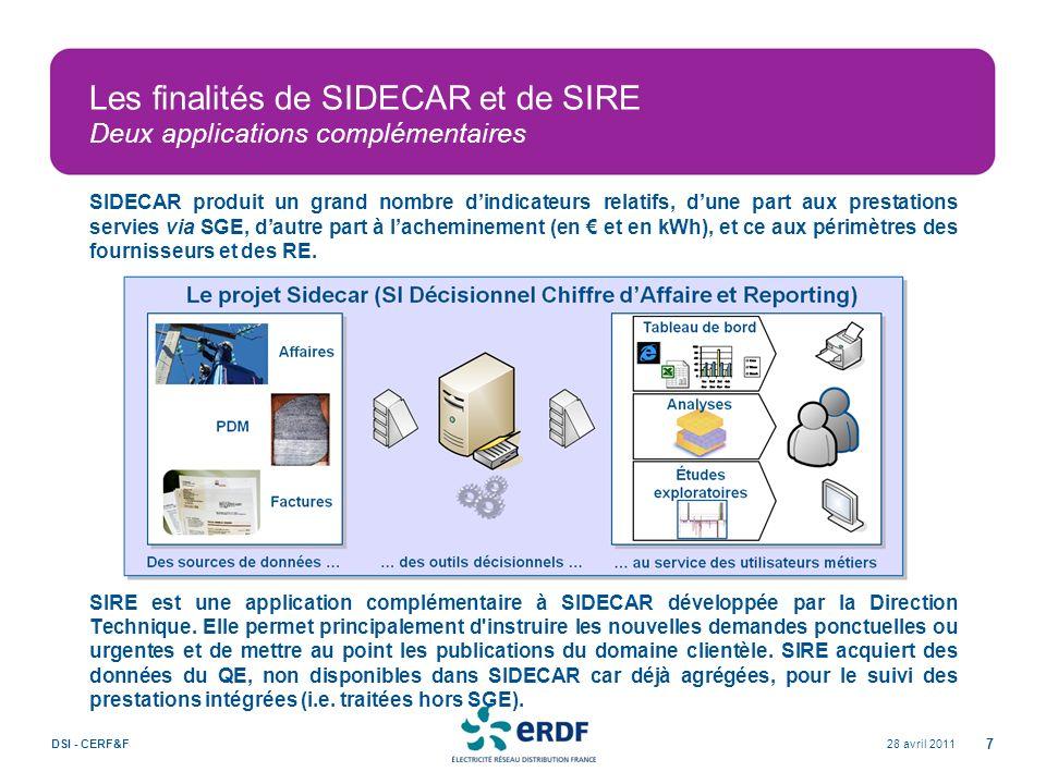 Les finalités de SIDECAR et de SIRE Deux applications complémentaires SIDECAR produit un grand nombre dindicateurs relatifs, dune part aux prestations