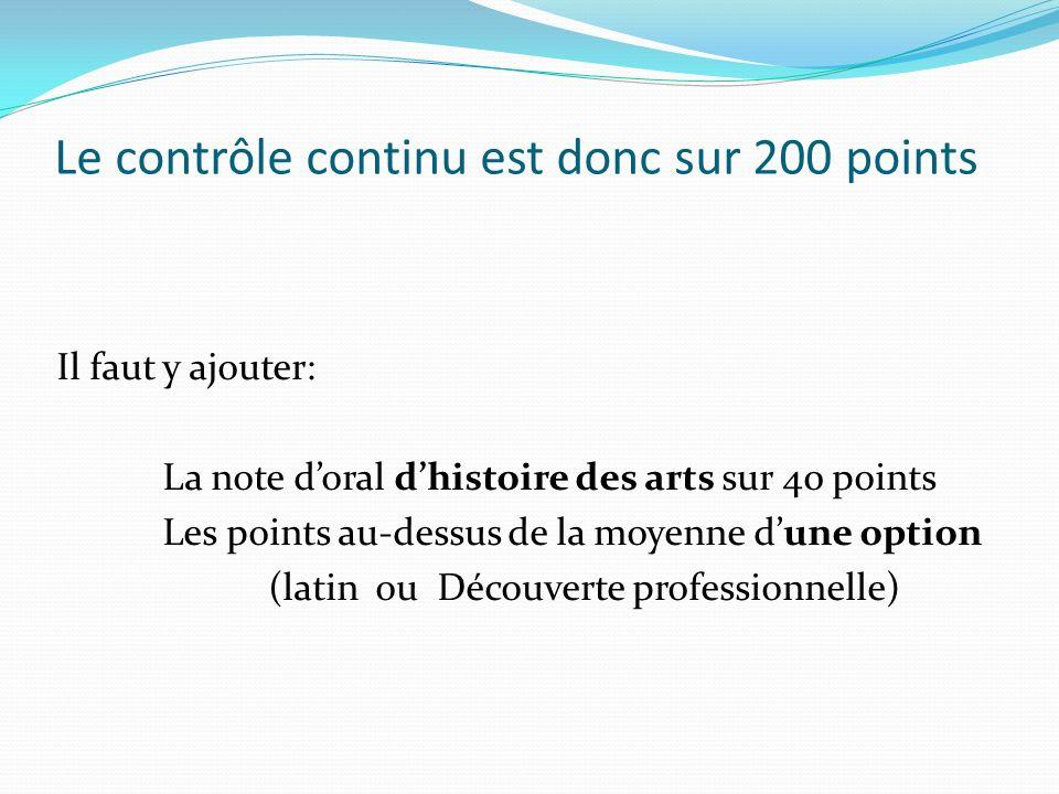 Le contrôle continu est donc sur 200 points Il faut y ajouter: La note doral dhistoire des arts sur 40 points Les points au-dessus de la moyenne dune