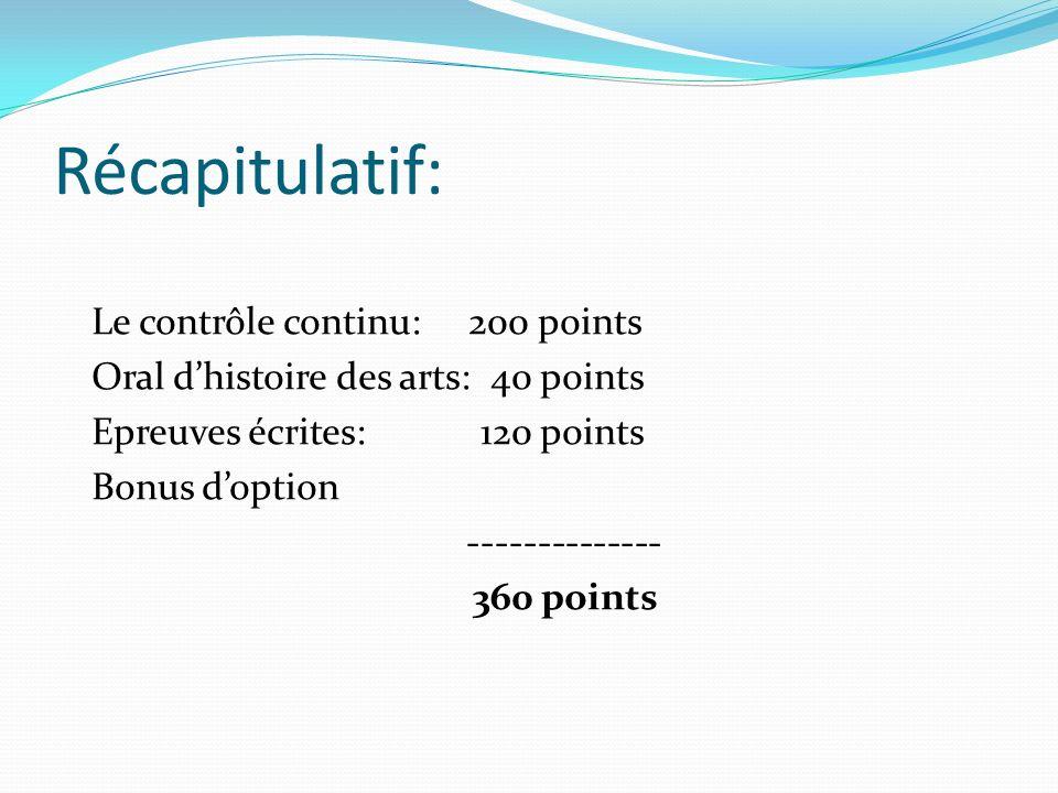 Récapitulatif: Le contrôle continu: 200 points Oral dhistoire des arts: 40 points Epreuves écrites: 120 points Bonus doption -------------- 360 points