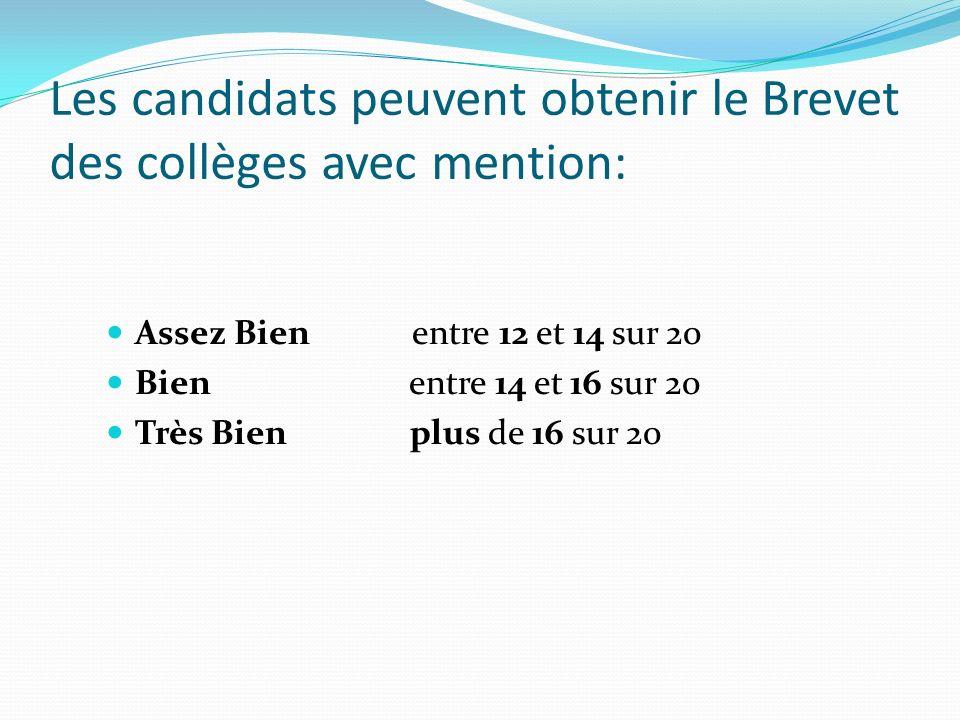 Les candidats peuvent obtenir le Brevet des collèges avec mention: Assez Bien entre 12 et 14 sur 20 Bien entre 14 et 16 sur 20 Très Bien plus de 16 su