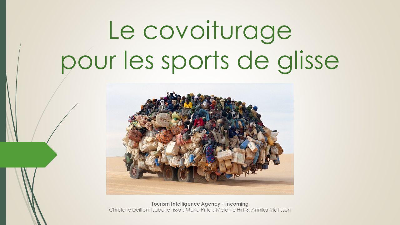 Le covoiturage pour les sports de glisse Tourism Intelligence Agency – Incoming Christelle Deillon, Isabelle Tissot, Marie Pittet, Mélanie Hirt & Anni