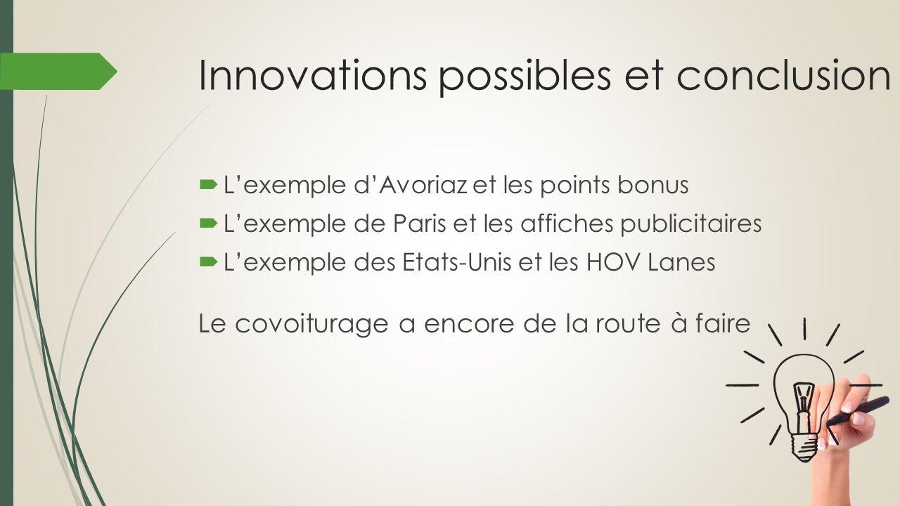 Innovations possibles et conclusion Lexemple dAvoriaz et les points bonus Lexemple de Paris et les affiches publicitaires Lexemple des Etats-Unis et l