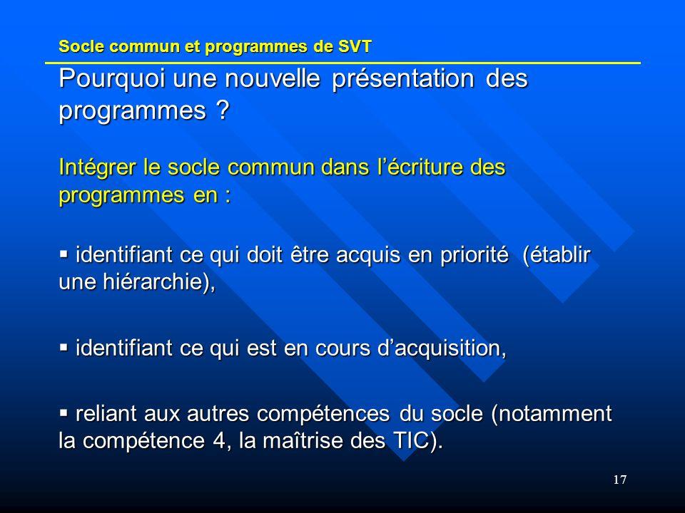 17 Socle commun et programmes de SVT Pourquoi une nouvelle présentation des programmes ? Intégrer le socle commun dans lécriture des programmes en : i