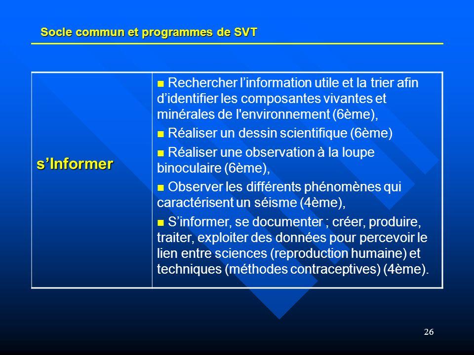 26 Socle commun et programmes de SVT sInformer Rechercher linformation utile et la trier afin didentifier les composantes vivantes et minérales de l'e