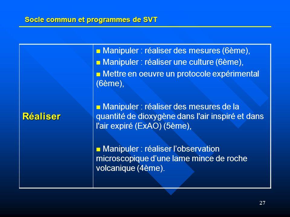 27 Socle commun et programmes de SVT Réaliser Manipuler : réaliser des mesures (6ème), Manipuler : réaliser une culture (6ème), Mettre en oeuvre un pr
