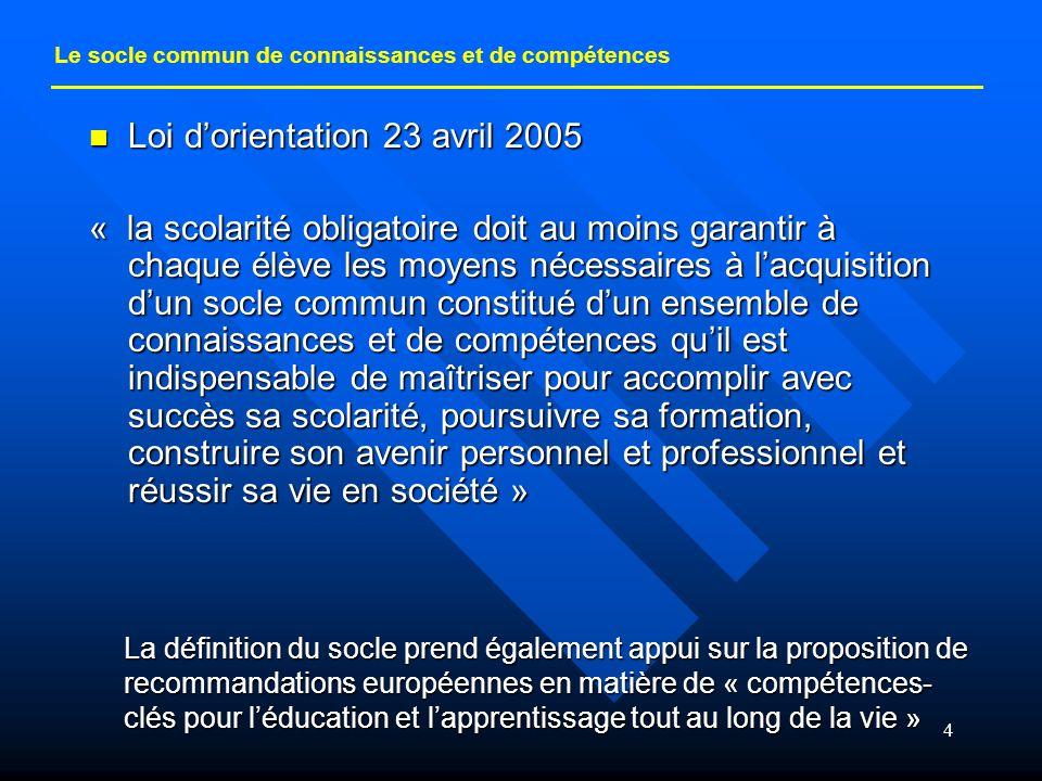 4 Loi dorientation 23 avril 2005 Loi dorientation 23 avril 2005 « la scolarité obligatoire doit au moins garantir à chaque élève les moyens nécessaire