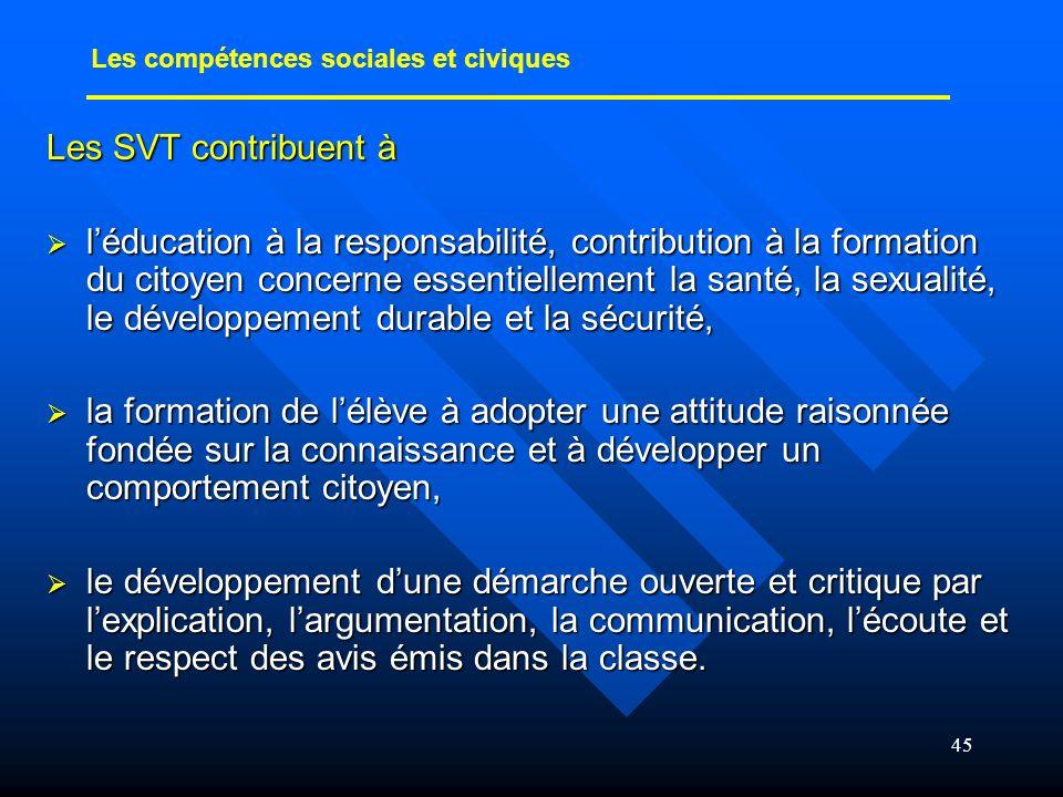 45 Les SVT contribuent à léducation à la responsabilité, contribution à la formation du citoyen concerne essentiellement la santé, la sexualité, le dé