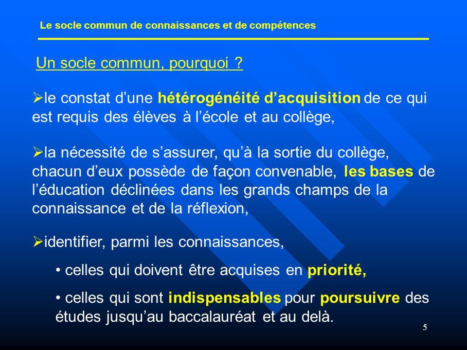 5 Un socle commun, pourquoi ? Le socle commun de connaissances et de compétences le constat dune hétérogénéité dacquisition de ce qui est requis des é