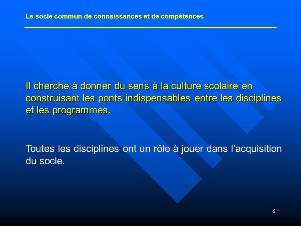 6 Il cherche à donner du sens à la culture scolaire en construisant les ponts indispensables entre les disciplines et les programmes. Toutes les disci