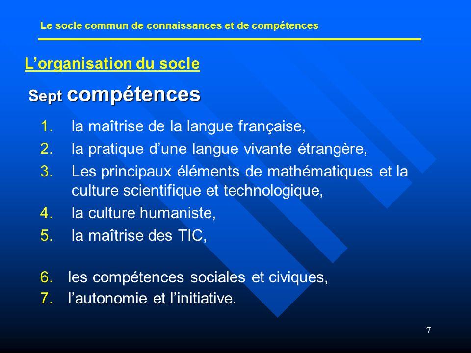 7 1. 1.la maîtrise de la langue française, 2. 2.la pratique dune langue vivante étrangère, 3. 3.Les principaux éléments de mathématiques et la culture