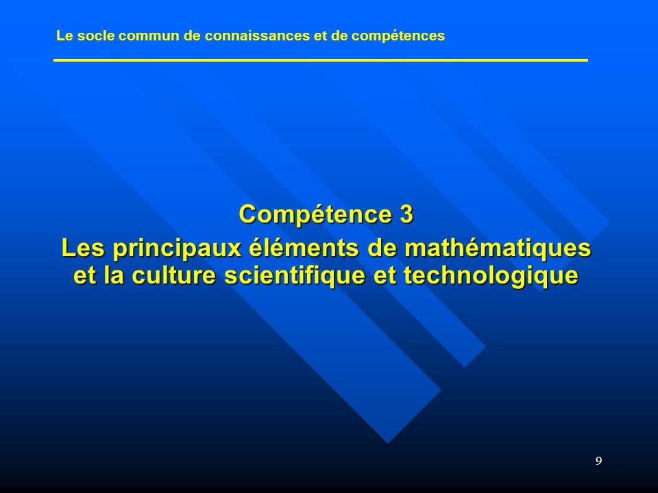 30 Socle commun et programmes de SVT Les capacités du socle commun trouvent naturellement leur place dans les quatre objectifs méthodologiques des SVT.