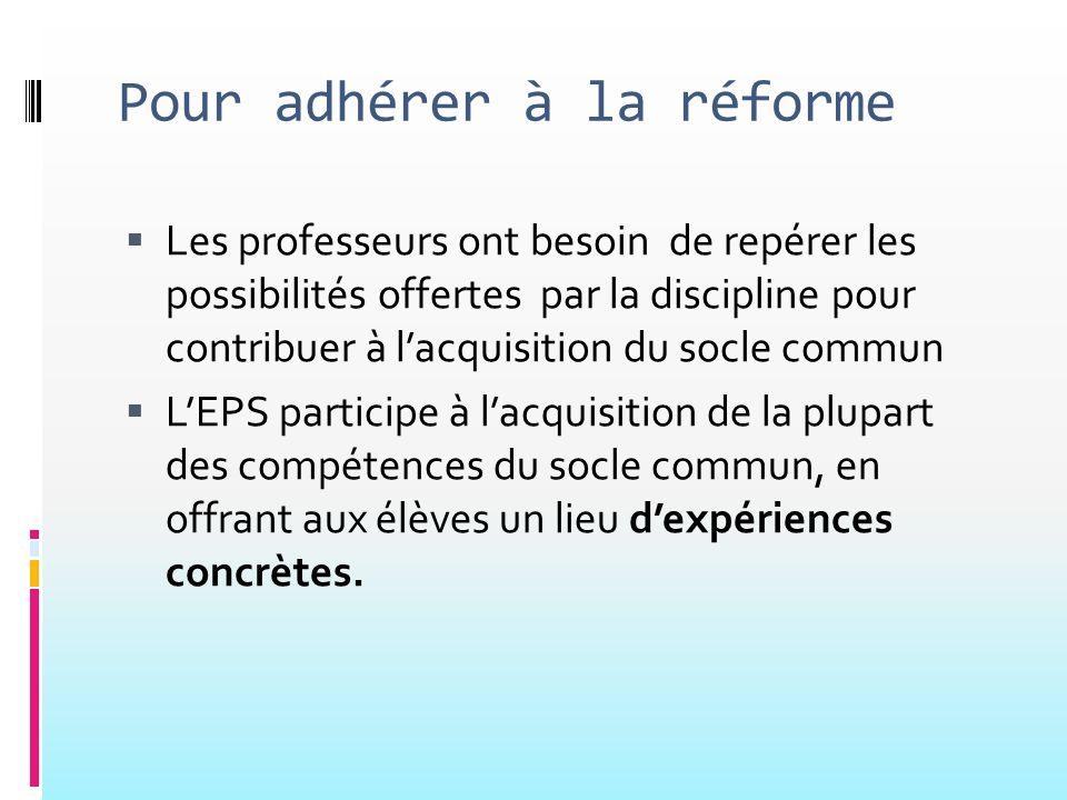 Pour adhérer à la réforme Les professeurs ont besoin de repérer les possibilités offertes par la discipline pour contribuer à lacquisition du socle co