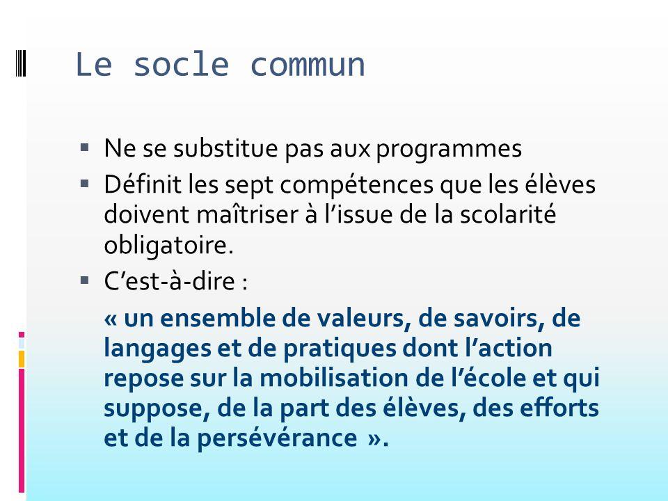 Le socle commun Ne se substitue pas aux programmes Définit les sept compétences que les élèves doivent maîtriser à lissue de la scolarité obligatoire.
