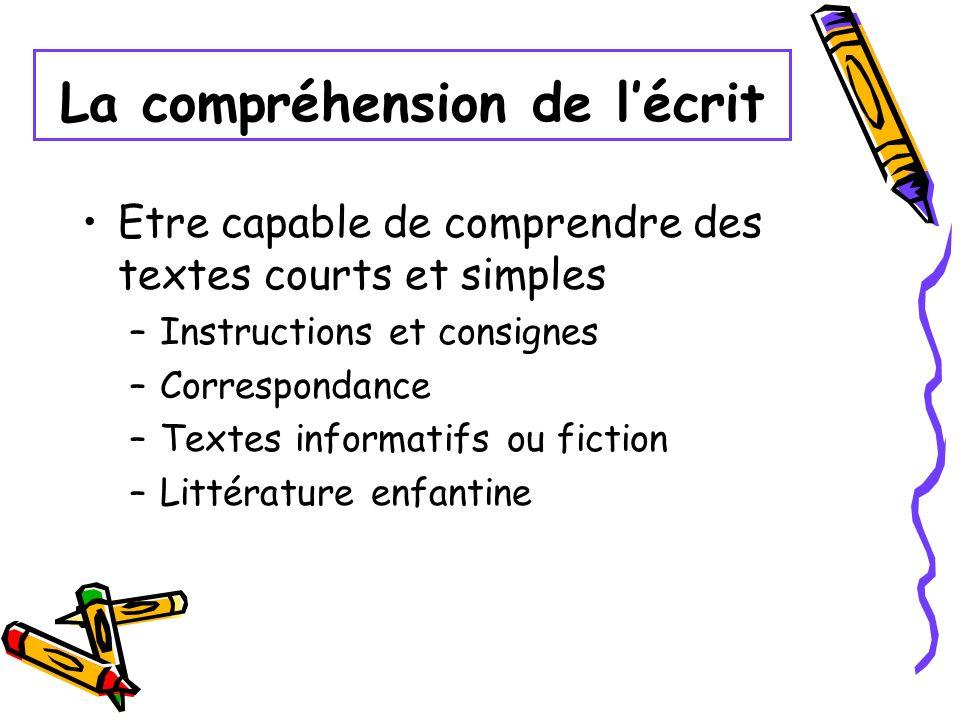 La compréhension de lécrit Etre capable de comprendre des textes courts et simples –Instructions et consignes –Correspondance –Textes informatifs ou f