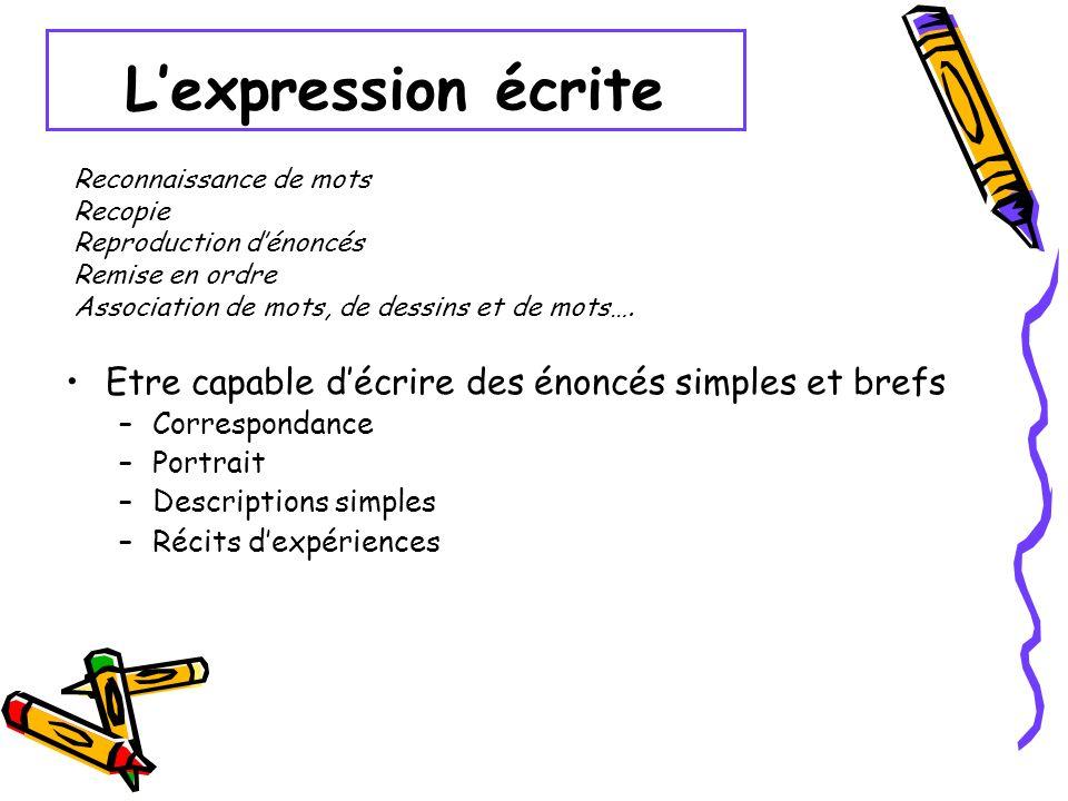Lexpression écrite Etre capable décrire des énoncés simples et brefs –Correspondance –Portrait –Descriptions simples –Récits dexpériences Reconnaissan