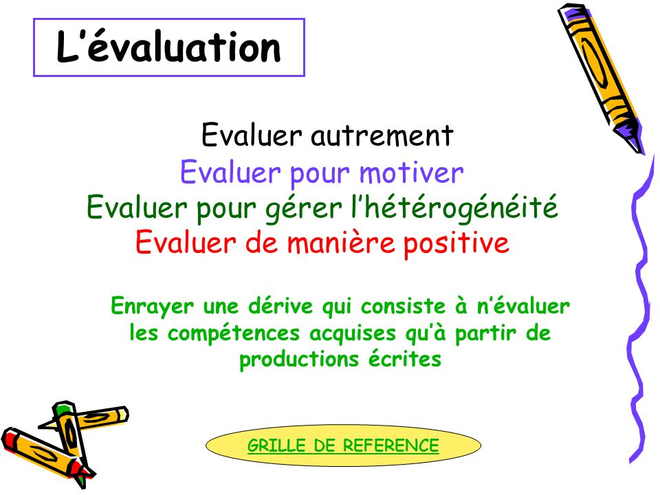 Evaluer autrement Evaluer pour motiver Evaluer pour gérer lhétérogénéité Evaluer de manière positive Enrayer une dérive qui consiste à névaluer les co