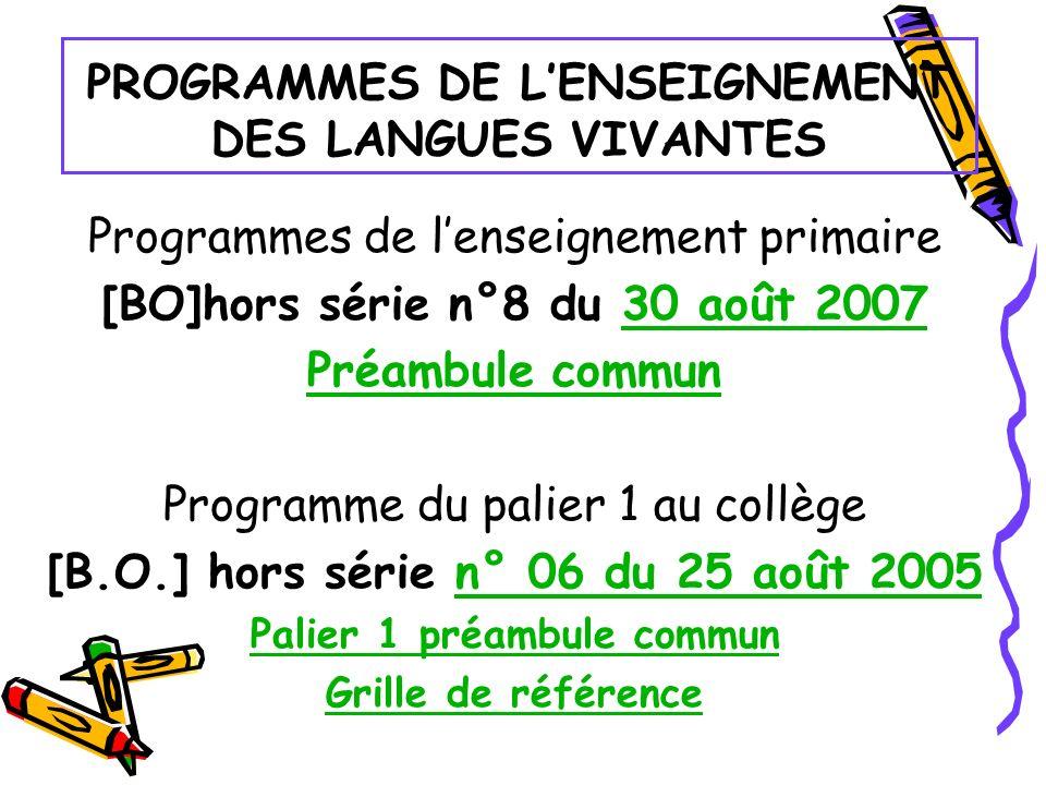 PROGRAMMES DE LENSEIGNEMENT DES LANGUES VIVANTES Programmes de lenseignement primaire [BO]hors série n°8 du 30 août 200730 août 2007 Préambule commun