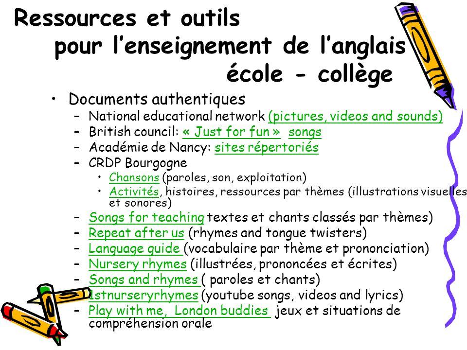 Ressources et outils pour lenseignement de langlais école - collège Documents authentiques –National educational network (pictures, videos and sounds)