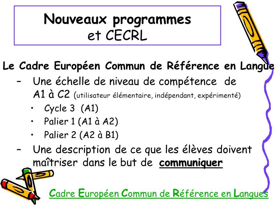 Nouveaux programmes et CECRL Le Cadre Européen Commun de Référence en Langue –Une échelle de niveau de compétence de A1 à C2 ( utilisateur élémentaire