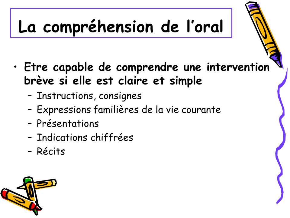 La compréhension de loral Etre capable de comprendre une intervention brève si elle est claire et simple –Instructions, consignes –Expressions familiè