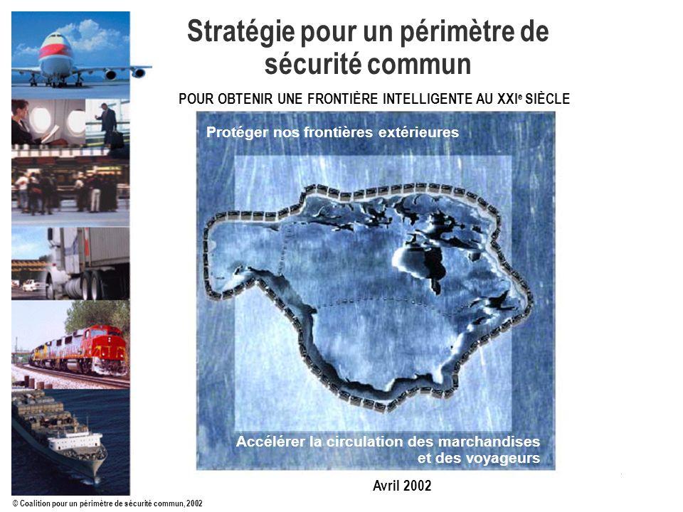 © Coalition pour un périmètre de sécurité commun, 2002 Avril 2002 Accélérer la circulation des marchandises et des voyageurs Stratégie pour un périmètre de sécurité commun POUR OBTENIR UNE FRONTIÈRE INTELLIGENTE AU XXI e SIÈCLE Protéger nos frontières extérieures