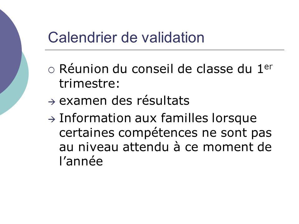 Calendrier de validation Réunion du conseil de classe du 1 er trimestre: examen des résultats Information aux familles lorsque certaines compétences ne sont pas au niveau attendu à ce moment de lannée