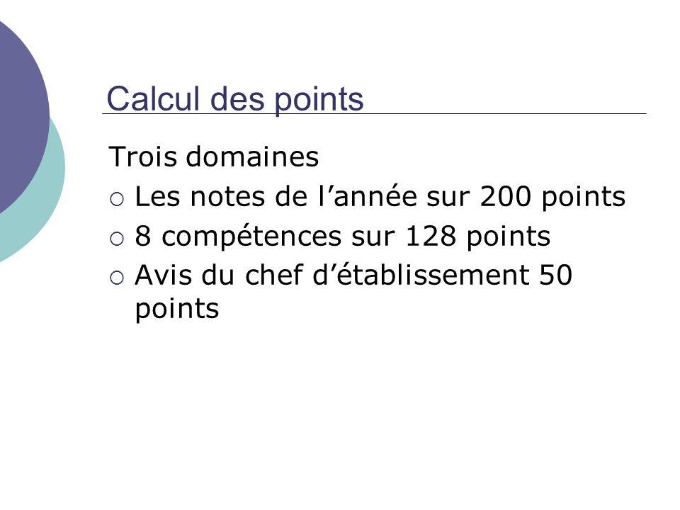 Calcul des points Trois domaines Les notes de lannée sur 200 points 8 compétences sur 128 points Avis du chef détablissement 50 points