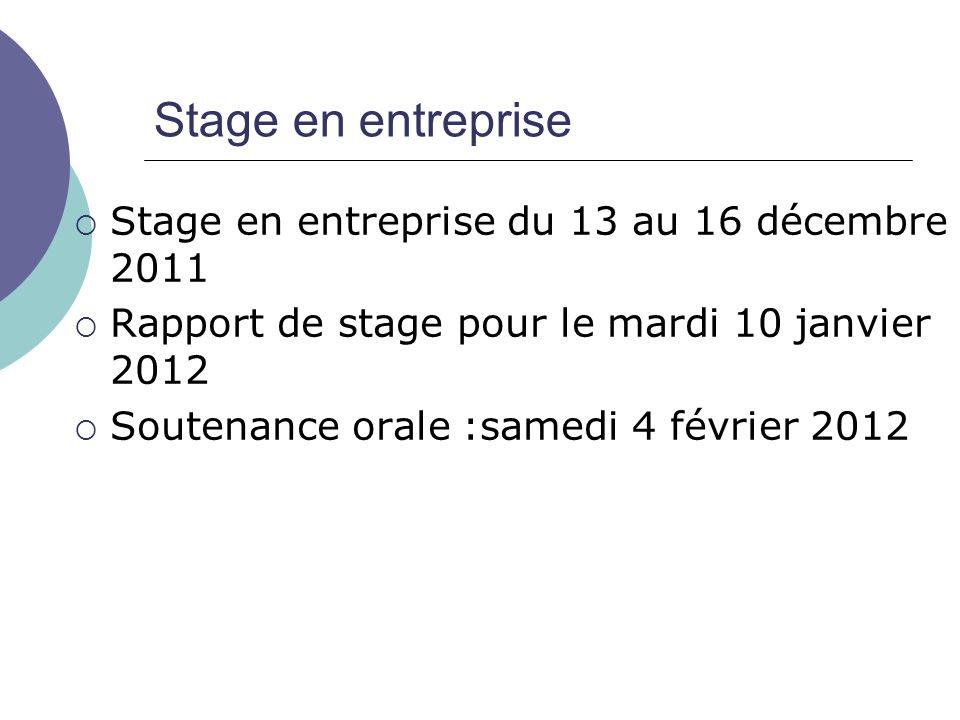 Stage en entreprise Stage en entreprise du 13 au 16 décembre 2011 Rapport de stage pour le mardi 10 janvier 2012 Soutenance orale :samedi 4 février 2012