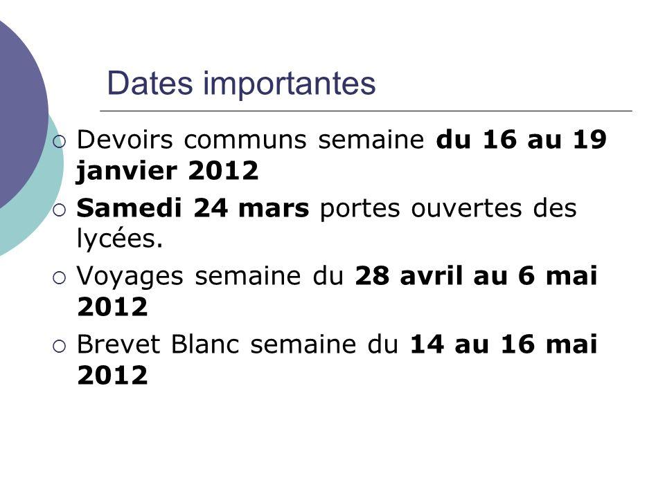 Dates importantes Devoirs communs semaine du 16 au 19 janvier 2012 Samedi 24 mars portes ouvertes des lycées. Voyages semaine du 28 avril au 6 mai 201