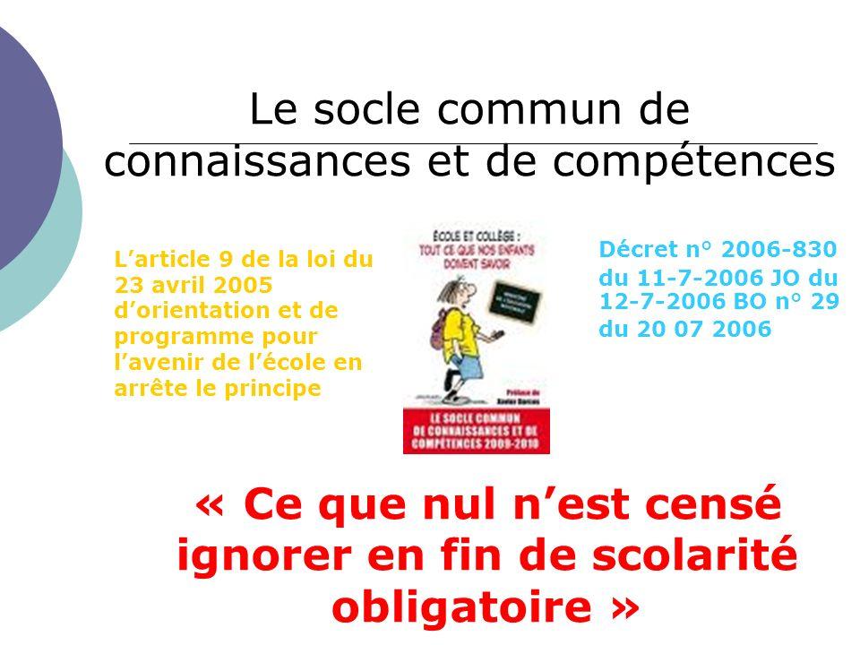 Le socle commun de connaissances et de compétences « Ce que nul nest censé ignorer en fin de scolarité obligatoire » Larticle 9 de la loi du 23 avril