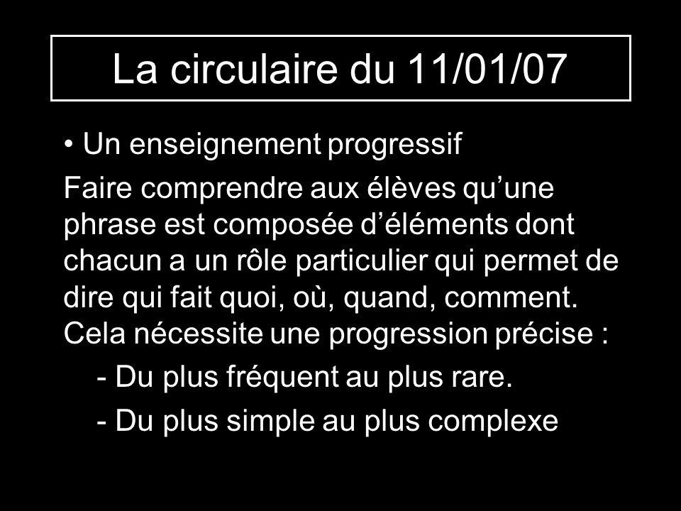 La circulaire du 11/01/07 Un enseignement progressif Faire comprendre aux élèves quune phrase est composée déléments dont chacun a un rôle particulier