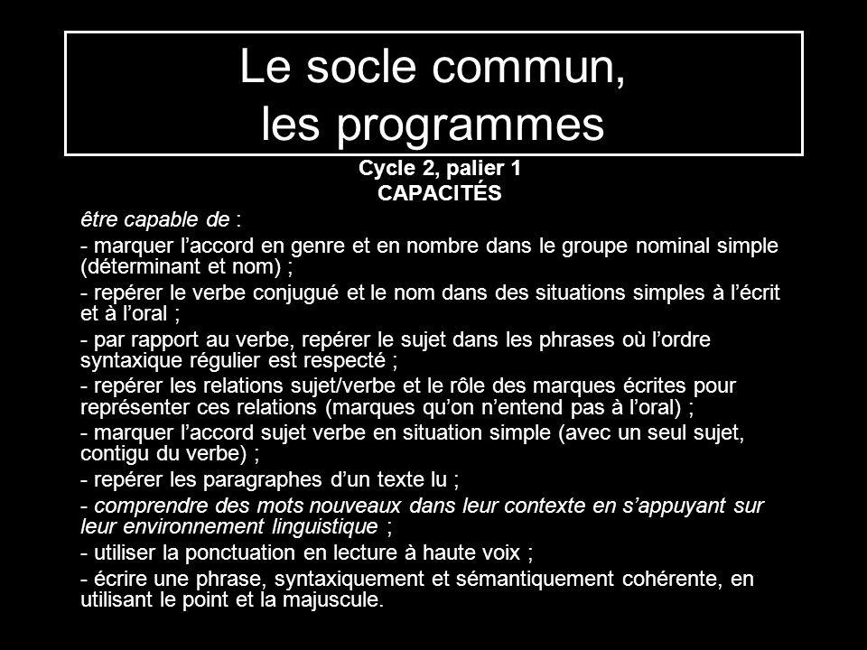Le socle commun, les programmes Cycle 2, palier 1 CAPACITÉS être capable de : - marquer laccord en genre et en nombre dans le groupe nominal simple (d