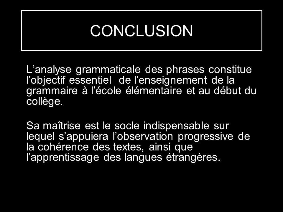 CONCLUSION Lanalyse grammaticale des phrases constitue lobjectif essentiel de lenseignement de la grammaire à lécole élémentaire et au début du collèg