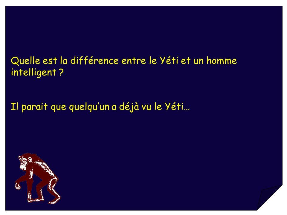 Quelle est la différence entre le Yéti et un homme intelligent ? Il parait que quelquun a déjà vu le Yéti…