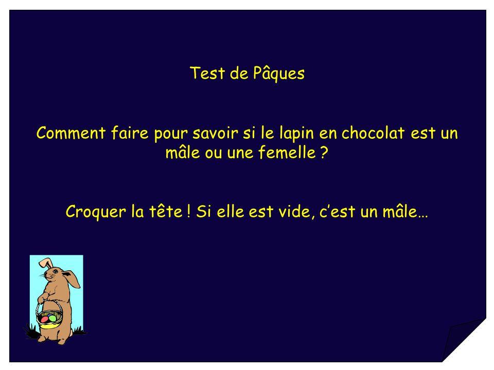 Test de Pâques Comment faire pour savoir si le lapin en chocolat est un mâle ou une femelle ? Croquer la tête ! Si elle est vide, cest un mâle…