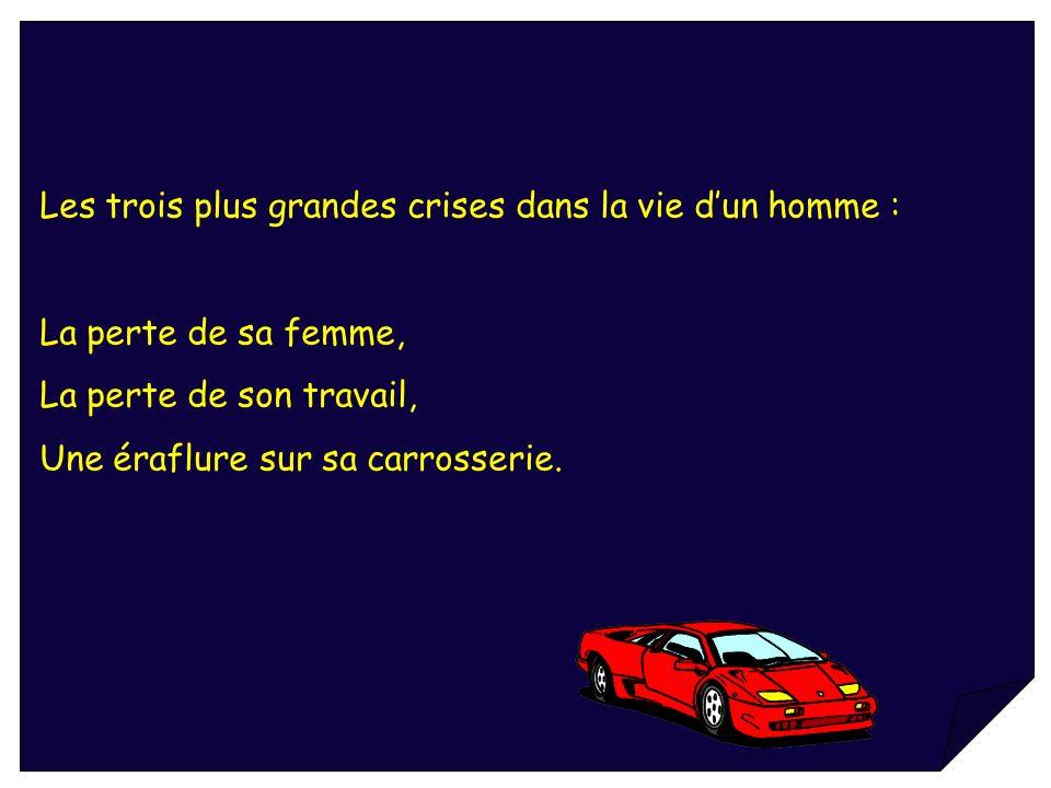 Les trois plus grandes crises dans la vie dun homme : La perte de sa femme, La perte de son travail, Une éraflure sur sa carrosserie.