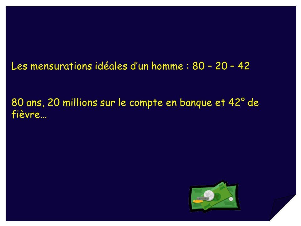 Les mensurations idéales dun homme : 80 – 20 – 42 80 ans, 20 millions sur le compte en banque et 42° de fièvre…