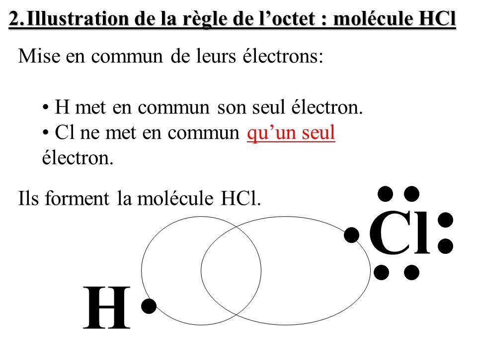 Configuration électronique: Cl (Z=17) : Pour avoir une configuration stable, il faut que chaque atome Cl soit entouré de 8 électrons.