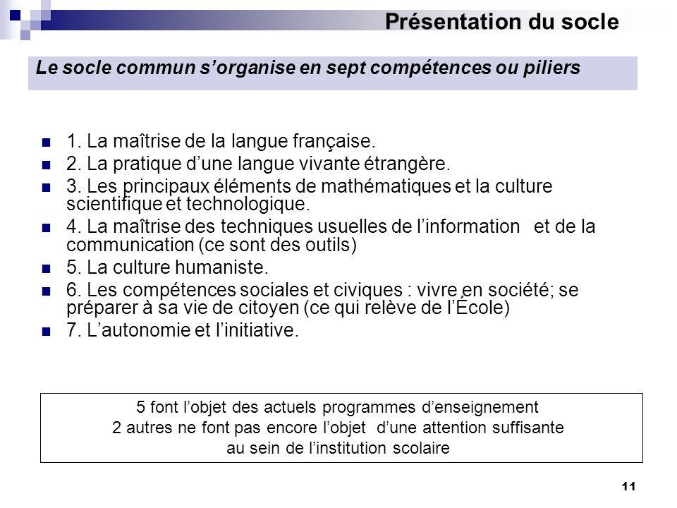 11 1. La maîtrise de la langue française. 2. La pratique dune langue vivante étrangère. 3. Les principaux éléments de mathématiques et la culture scie